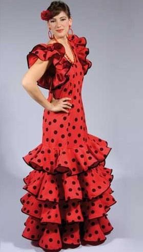 flamenca mujer volantes rojo