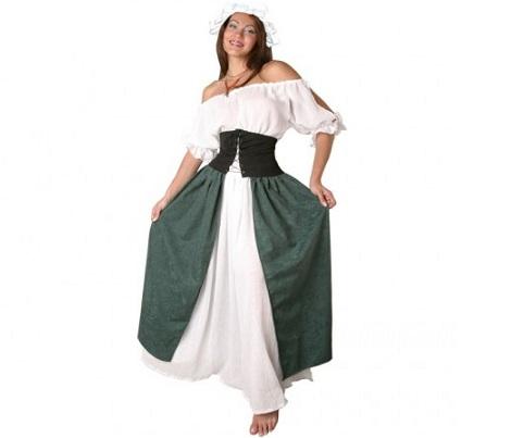 disfraz campesina verde