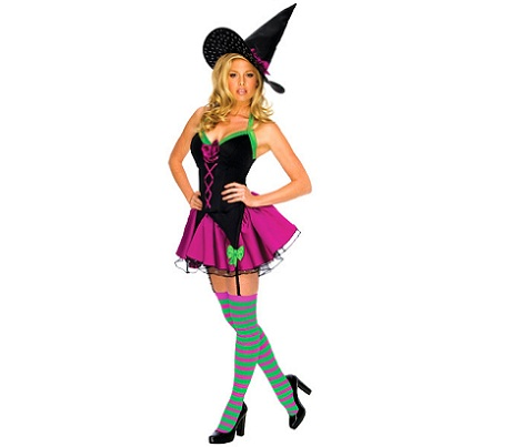 disfraces Halloween sexys mujer bruja colores