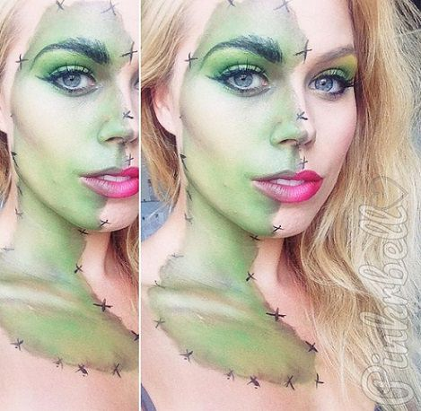 maquillaje sexy halloween frankenstein