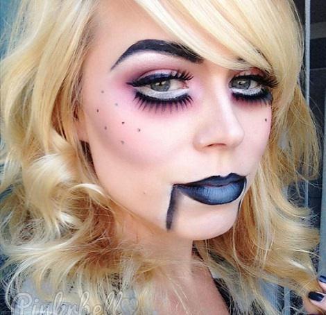 maquillaje sexy halloween muñeca de ventrilocuo