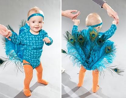 Disfraces originales bebé: pavo real