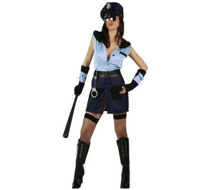 mujer policia azul