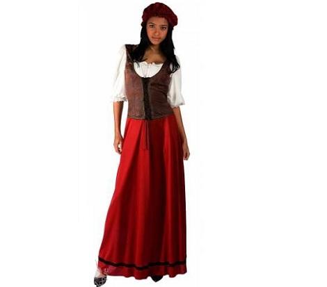 disfraz campesina rojo