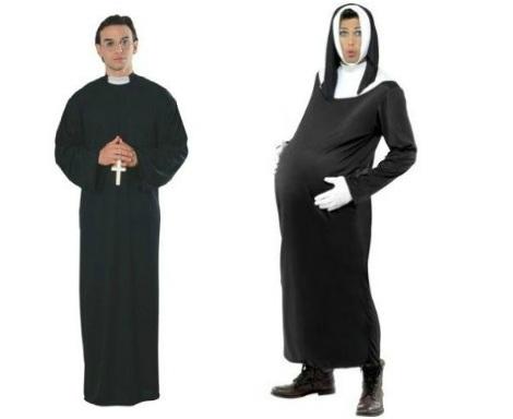 disfraces Halloween parejas monja cura