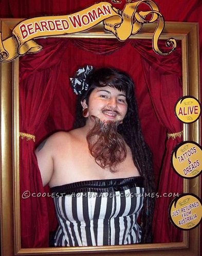 disfraz casero de mujer barbuda