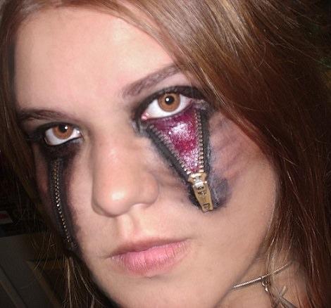 maquillaje de halloween de cremallera