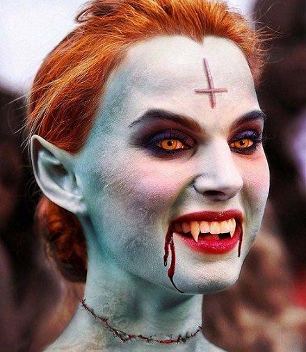 maquillaje de halloween de vampiro